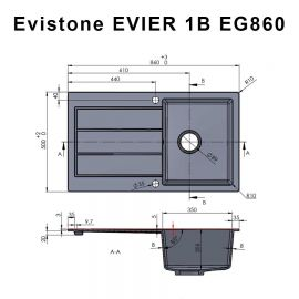 Évier EVISTONE avec 1 bac + égouttoir 86cm - Terra