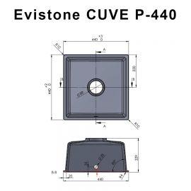 Cuve 44 cm x 44 cm à encastrer ou à poser - CROMO - EVISTONE