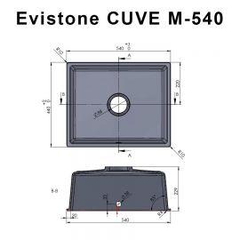 Cuve 54 cm x 44 cm à encastrer ou à poser - NERO - EVISTONE
