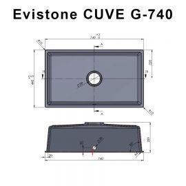 Cuve 74 cm x 44 cm à encastrer ou à poser - NERO - EVISTONE