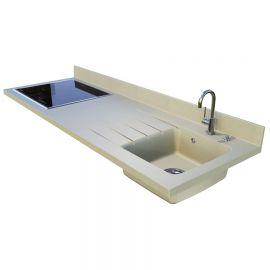 Plan de travail avec cuve à droite Planiquartz 180cm - Coloris CHAMPAGNE