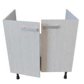 Meuble bas sous évier 2 portes - 80 cm - PIN BLANC