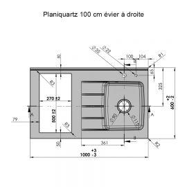 Plan de travail avec cuve à droite Planiquartz 100cm - Coloris SNOVA